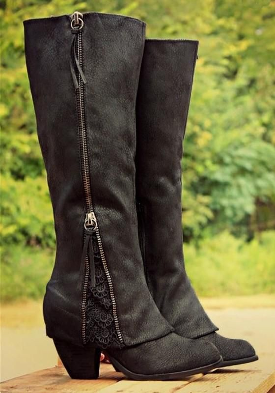 aebc5945360 New Women Black Round Toe Chunky Lace Stitching Zipper Casual Mid-Calf Boots