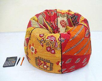 Handmade Cotton Kantha Quilts Cut Peice Floral Bean Bag Chair Home Decor Round Bohemian Decorative