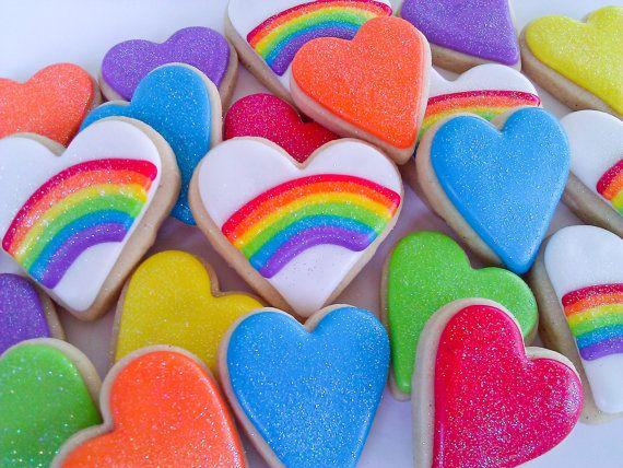 Rainbow+Heart+Cookies++2+Dozen+by+acookiejar+on+Etsy,+$33.95