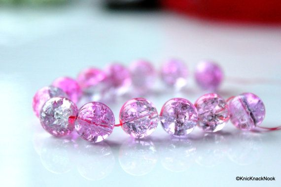 10 mm Pink And Mauve Crackle Beads x 10 by KnicKnackNook on Etsy