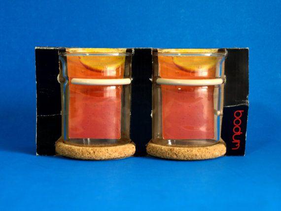 Bodum Tea Glass Mugs Cream Handle  New in Box  Cork by FunkyKoala
