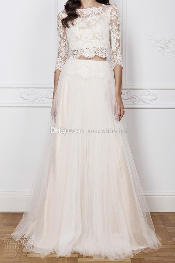 2 piece bohemian wedding dresses 2016 lace top a line 3/4 sleeves illusion back bateau neckline wedding gowns bridal gowns