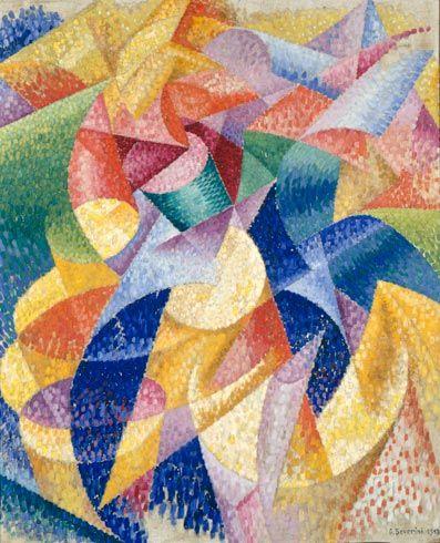 Sea=Dance by Gino Severini (1913) #sea #dancer #futurism #art #colorful