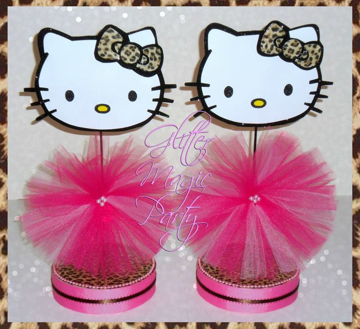 Hello Kitty Centerpieces - Hello Kitty Inspired Party - Hello Kitty Decoration - Classic Leopard - Hello Kitty Leopard Party - SET OF 2 by GlitterMagicParty, $25.99 USD
