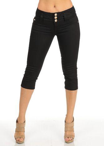 Black Twill Women's Juniors Shorts Capris
