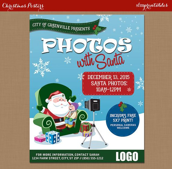 Pictures with Santa Flyer // Photos with Santa Flyer Poster / Customizable Church School Community Christmas Holiday Poster Flyer Invitation by sfmprintables