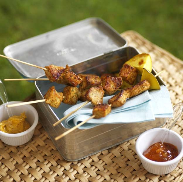 Mini Pork and Mango Skewers - perfect for picnics!