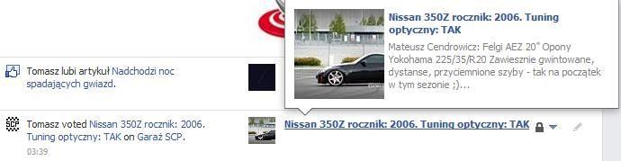 Konkurs fotograficzny na Facebook u dla SCP w pełni wykorzystuje integrację z Open Graph zwiększając społecznościową promocję przez ticker, feed i timeline. Oto przykład wpisu widocznego po zagłosowaniu przez uczestnika i kierującego do jego zgłoszenia.