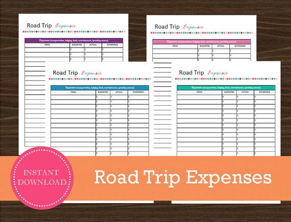 Road Trip Expense Tracking Sheet  Travel by RoadTripBlogger