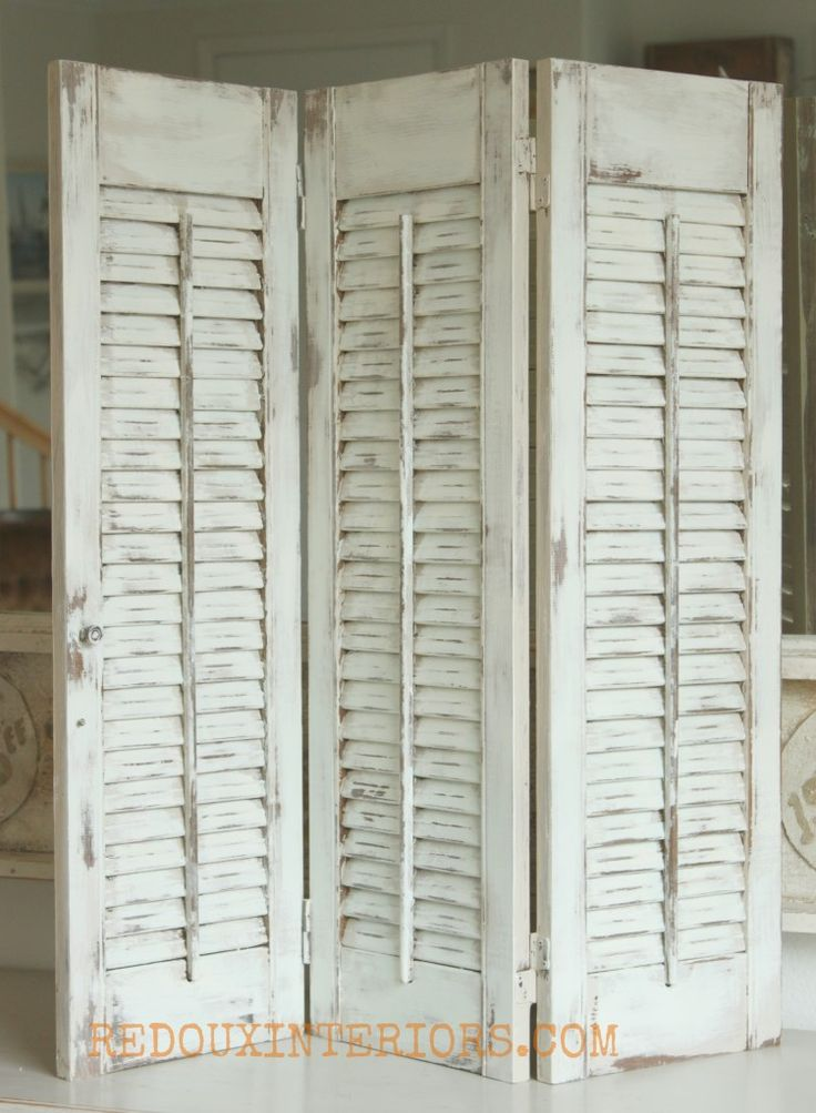 How to paint and distress Shutters with CeCe C aldwell's Nantucket Spray | Redoux Interiors