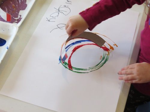 Simple but beautiful abstract rainbow paintings by Teach Preschool