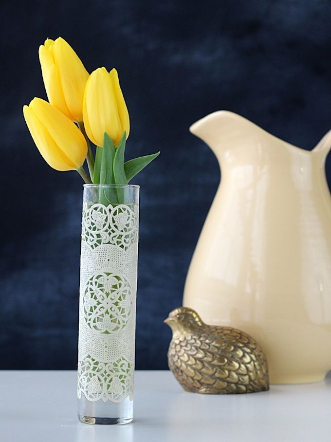 This simple vase decoupaged with a doily is such an easy spring craft project! You can also make it washable with Dishwasher Safe Mod Podge.