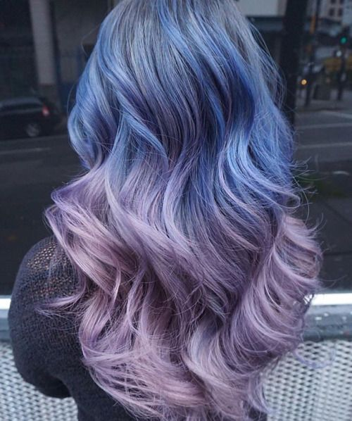 Ombre blue and purple hair