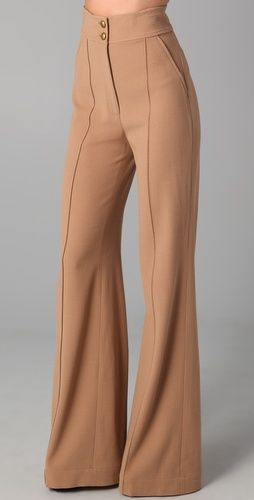 I wish I could spend this much on a pair of pants in good conscience...perfection: High-Waisted Wide-Leg Tan Wool Pant ⫸ Rachel Zoe Angelica Wide Leg Pants | $262.50