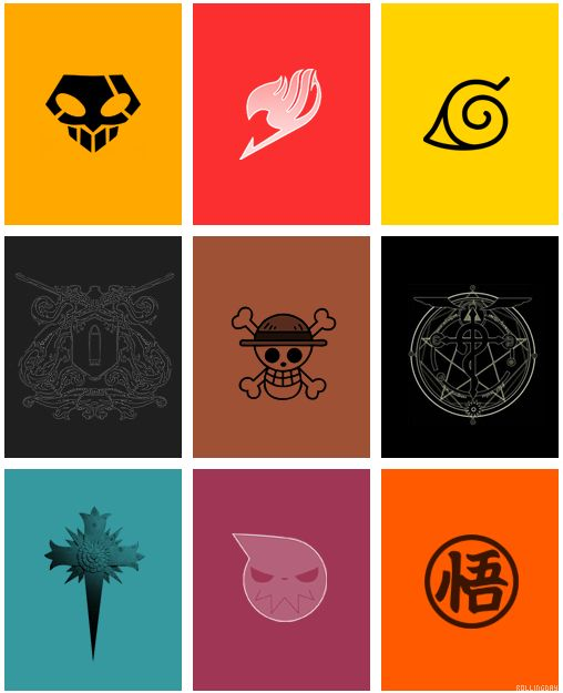 Bleach, Fairy Tail, Naruto, Black Butler, One Piece, Full Metal Alchemist, Death Note, Soul Eater, and DragonBall.