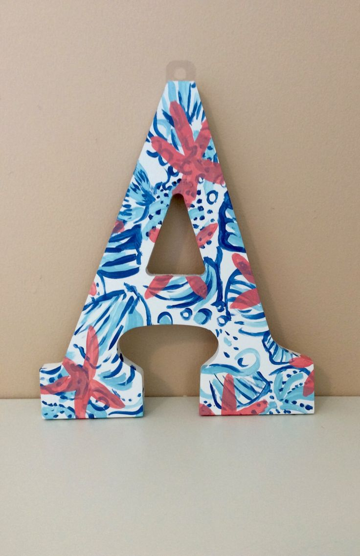 """Hand Painted Lilly Pulitzer She Sells Sea Shells Inspired 9"""" Wooden Letter by ThePaintedRoseLI on Etsy https://www.etsy.com/listing/240772959/hand-painted-lilly-pulitzer-she-sells"""