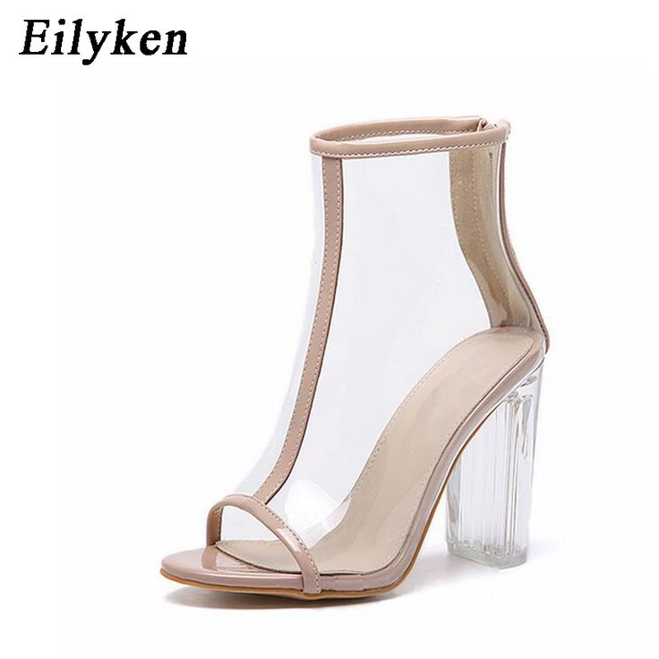 Cheap bling gladiator sandals, Buy Quality gladiator sandals directly from China sandals peep toe Suppliers: Sexy PVC Transparent Bling Gladiator Sandals Peep Toe Zip Shoes Clear Chunky heels Pumps 11CM Sandals Mujer Women Boots size 41