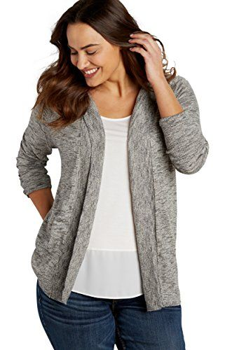 Maurices Womens Plus Size Marled Cardigan With Hood 1 Gray Combo *** See this great product.