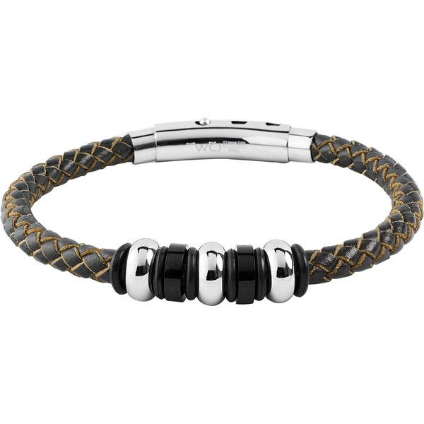 West Coast Jewelry Men's Stainless Steel Brown Leather Braided and... ($16) ❤ liked on Polyvore featuring men's fashion, men's jewelry, men's bracelets, brown, mens brown leather bracelets, mens leather bracelets, mens watches jewelry, mens leather braided bracelets and mens bracelets