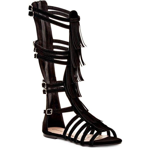 Top Guy Long Fringe Gladiator Sandal ($30) ❤ liked on Polyvore featuring shoes, sandals, black, black gladiator sandals, black fringe shoes, open toe sandals, black shoes and gladiator sandals