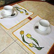 """Для дома и интерьера ручной работы. Ярмарка Мастеров - ручная работа Салфетки для сервировки """"Желтые тюльпаны"""". Handmade."""