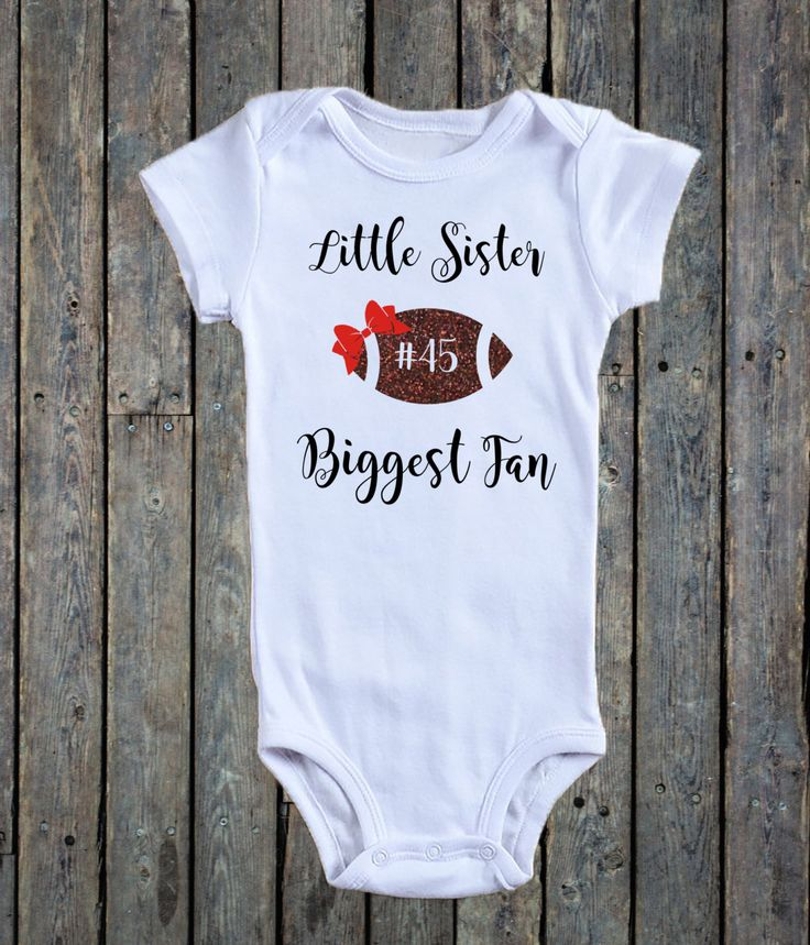 Little Sister Biggest Fan Onesie®/ Baby Girl Onesie®/ Football Onesie®/ Bow Onesie®/ Football sister/ football Baby/ personalized number by RustikBoutique on Etsy