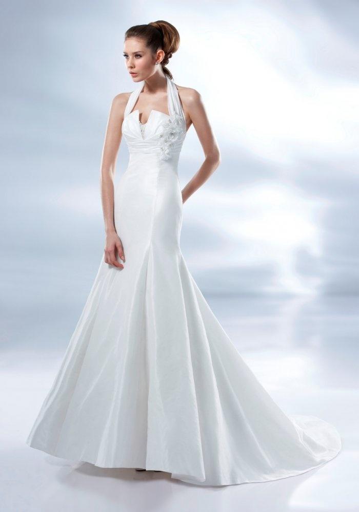 Mermaid Halter Neck Ruched Empire Waistband Flowers Taffeta Wedding Dress-wm0025, $224.95