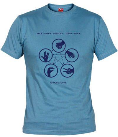 Camiseta Piedra papel tijera lagarto spock, basada en el juego de Sheldon en la serie Big Bang Theory
