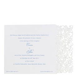 Chartula - Petite Fairytale Laser Cut Wedding Invitation - Cornflower Blue on Pristine White - Designer invitations for a whimsical wedding by www.chartula.co.uk