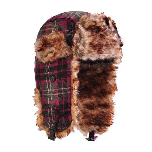 Toutacoo, Pink Tartan Chapka With Brown (Faux) Fur