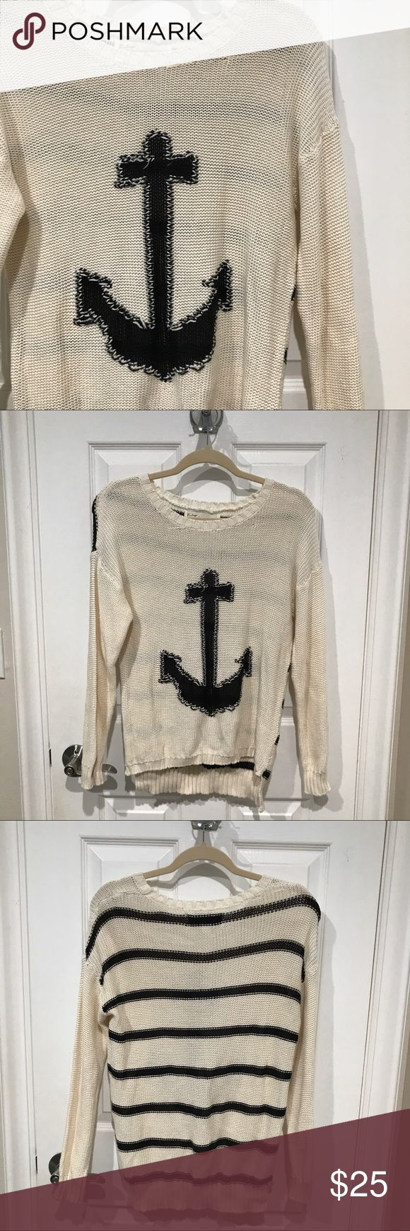 Anchor sweater Anchor sweater - anchor on the front and stripes on the back. Colors are cream and navy blue ❗️Never worn. Never worn. No trades. Open to reasonable offers ❗️brand is: VINTAGE HAVANA. Used Brandy for exposure! Brandy Melville Sweaters Crew & Scoop Necks