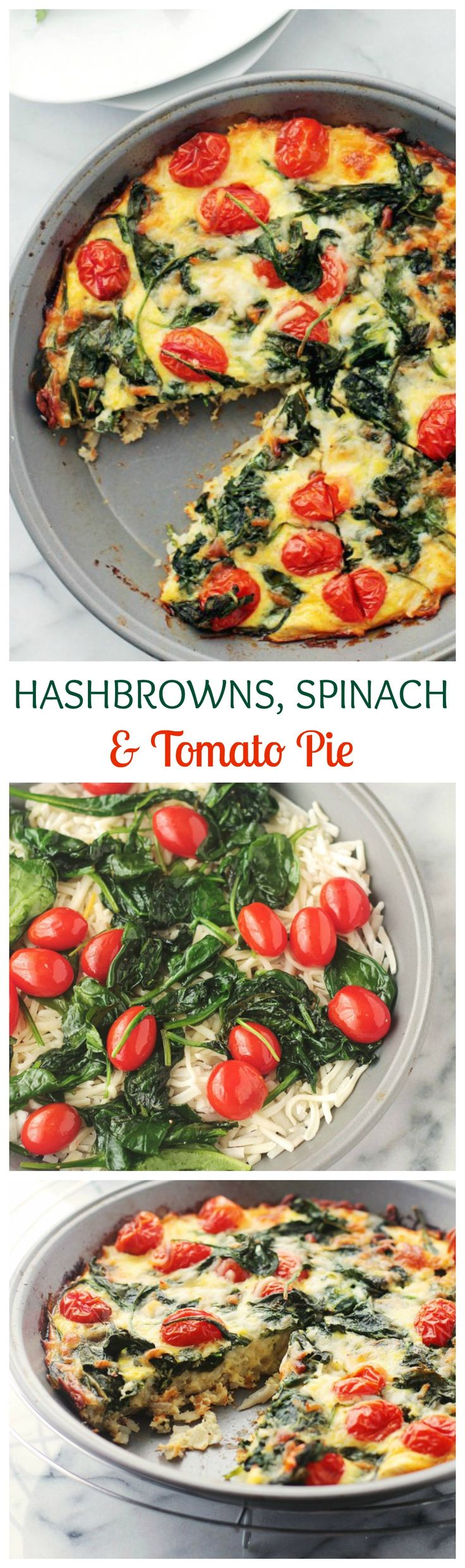Made with a Hashbrowns Crust, this gluten free, veggie-packed Spinach and Tomato Pie is the perfect addition to your Brunch Menu!