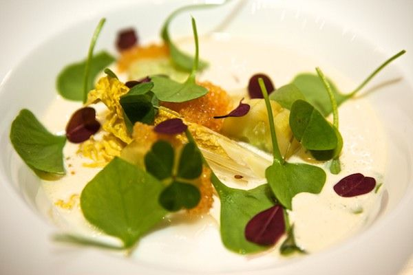 Lettuce, blanquette with smoked fresh cheese and cucumber.