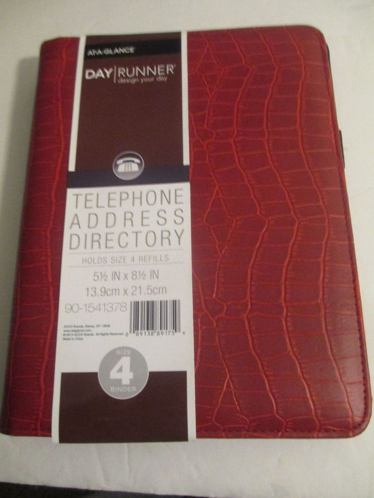 "AT.A.GLANCE Day Runner Telephone Address Directory RED 90-1541378, 5.5""  x 8.5"" #DAYRUNNER"