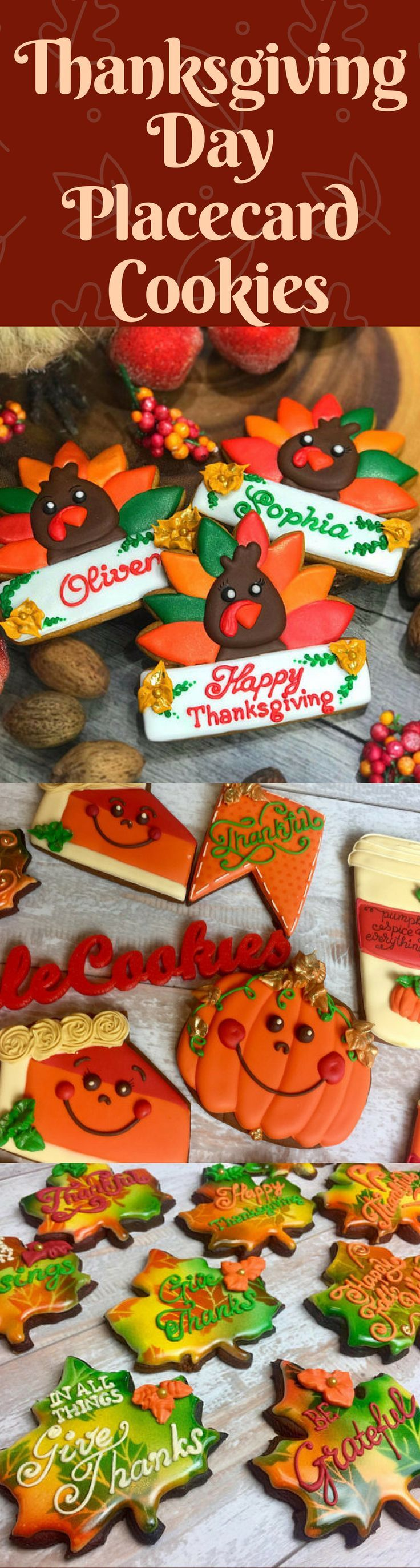 The best Thanksgiving cookie idea! These cookies are so beautiful and yummy! Thanksgiving place card cookies- Turkey cookies with names - Thanksgiving Day cookies, Thanksgiving name cookies, Thanksgiving dessert #thanksgiving #thanksgivingday #thanksgivingcookies #turkey #cookies #etsy #affiliate
