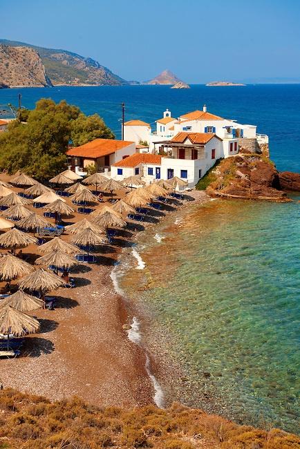 Vlychos Village & beach, Hydra, Greek Saronic Islands. *