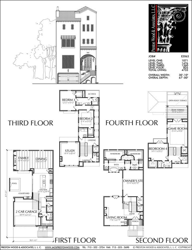 Townhome plan e2063 floor plans pinterest terrace for Town home plans