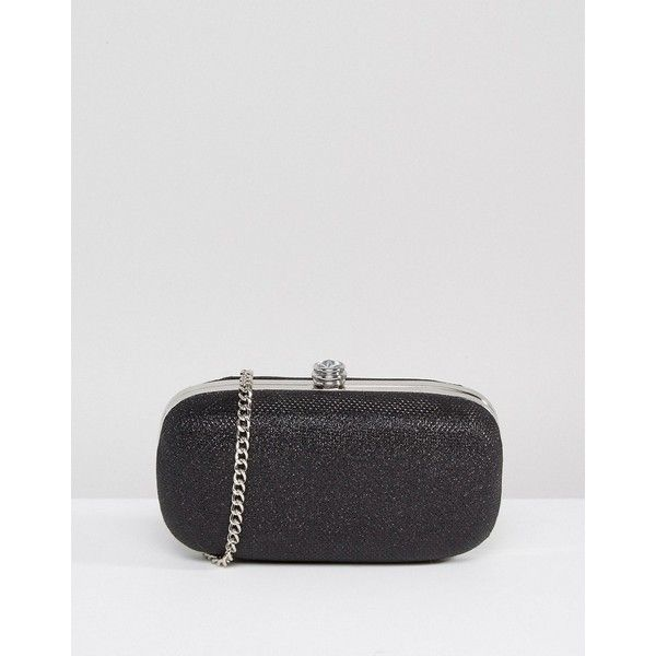 Carvela Rounded Box Clutch ($67) ❤ liked on Polyvore featuring bags, handbags, clutches, black, glitter handbags, glitter clutches, genuine leather purse, embellished handbags and glitter purse