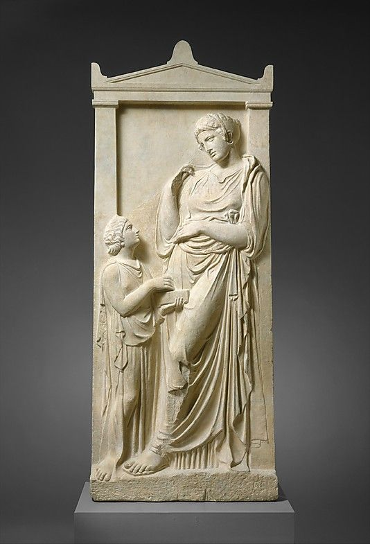 VISIT GREECE| Marble grave stele of a young woman and servant  Period: Classical Date: ca. 400–390 B.C. Culture: Greek, Attic #monuments #history #art&culture