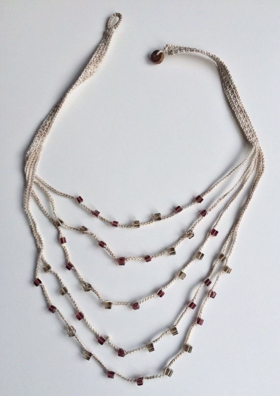 Light brown and mauve layers crochet necklace by GabyCrochetCrafts