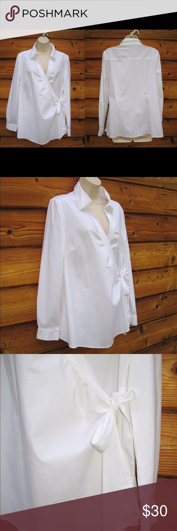 """🆕 Old Navy Maternity Full Wrap Blouse Old Navy Maternity Full Wrap Blouse, New with Tags  Details: Old Navy MAternity Size: L Color: White Cotton/Nylon/Elastane  Measurements: Length: 28"""" Bust: 44"""" Waist: 40"""" Old Navy Maternity Tops Blouses"""