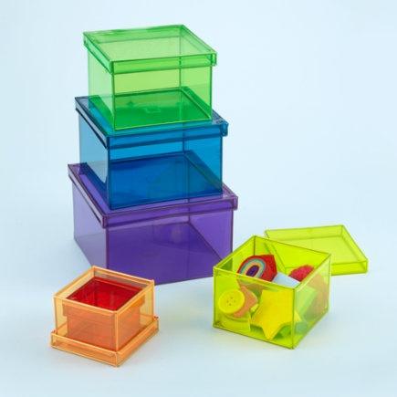 Kids Storage: Colorful Nesting Storage Bins - Colored Plastic Boxes (Set of 6) | Kids storage
