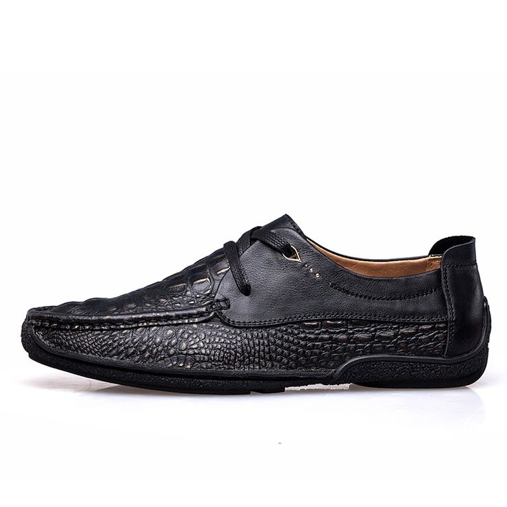 43.05$  Buy now - Size 38-44 Genuine Cowhide Leather Men's Casual Shoes Autumn Fashion Crocodile Moccasins for Men D30  #magazine