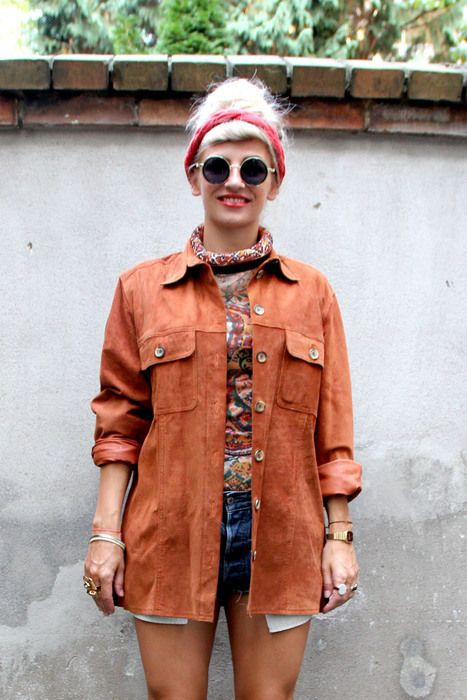 Vintage Lederhemd Jacke oversize Suede 60er 70er 90er Grunge goa Boho Hippie - kleiderkreisel.de