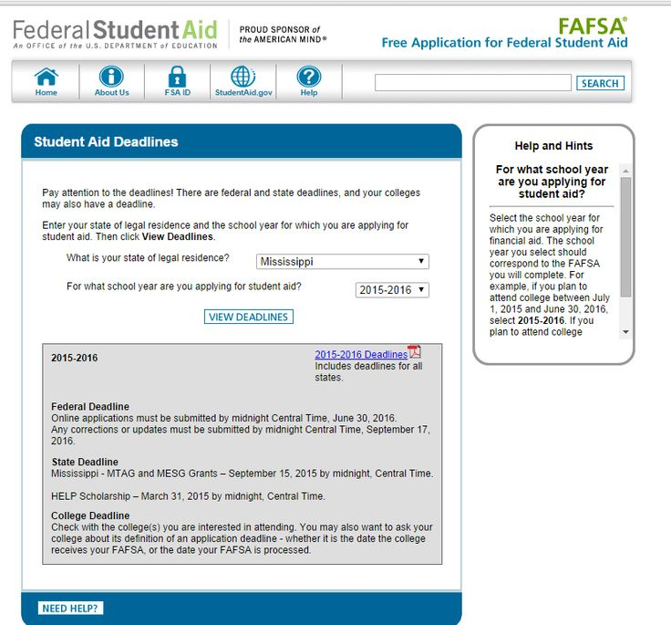 Complete your FASFA application (Free Application For Federal Student Aid).  The link below will take you to the page with FASFA deadlines.