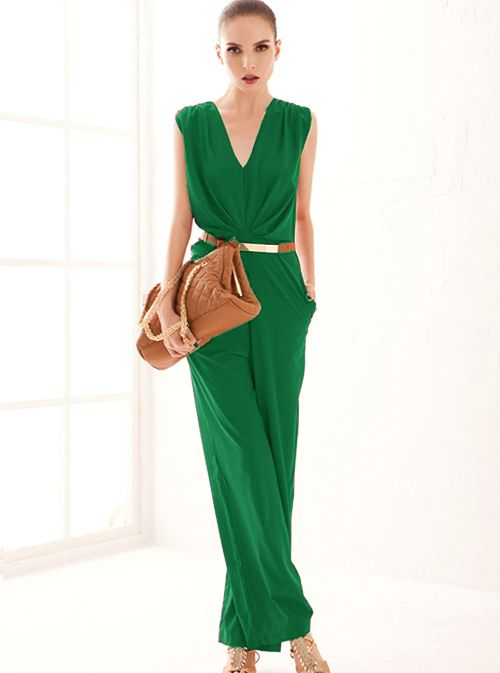 Green Sleeveless Vneck Belt Jumpsuit