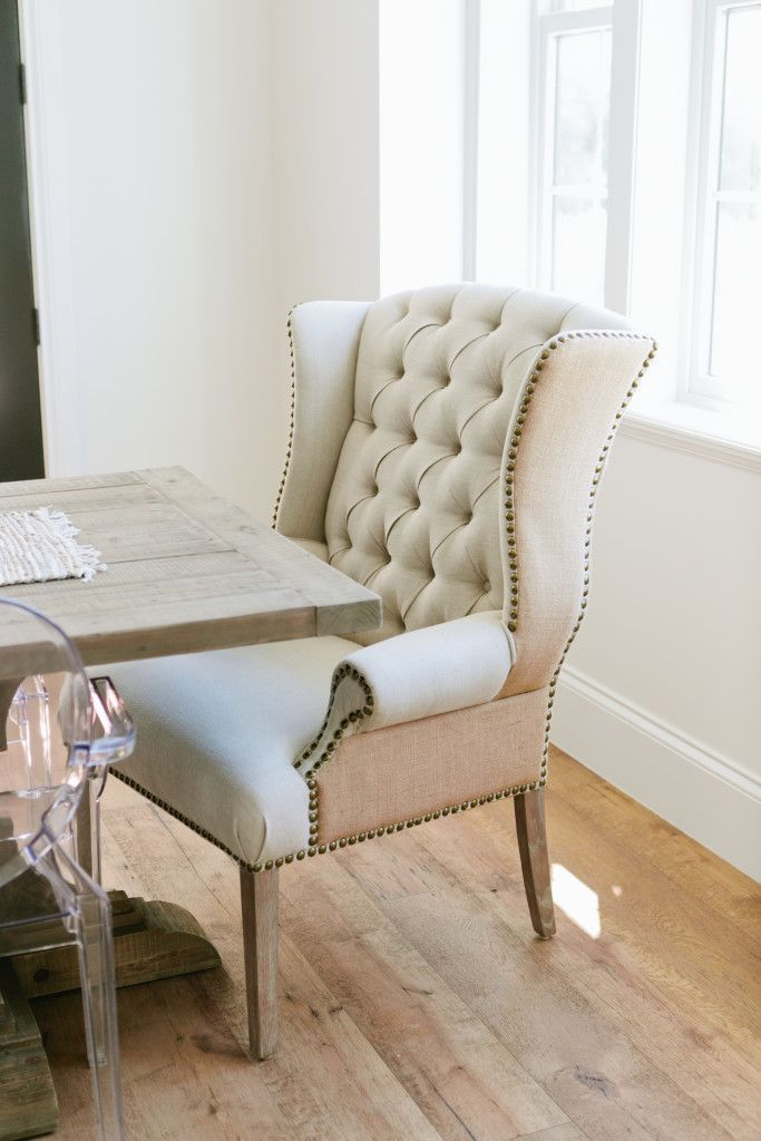beige tufted dining chair