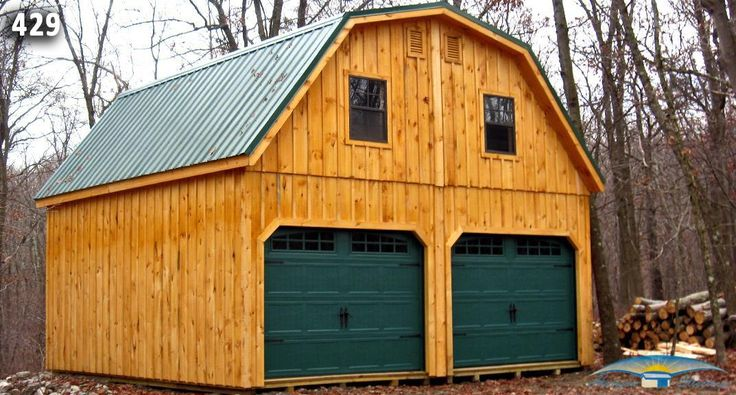2 Car 2 Story Garage Metal Gambrel Roof Stained Board And Batten Siding Prefab Garages Metal Buildings Garage Apartments