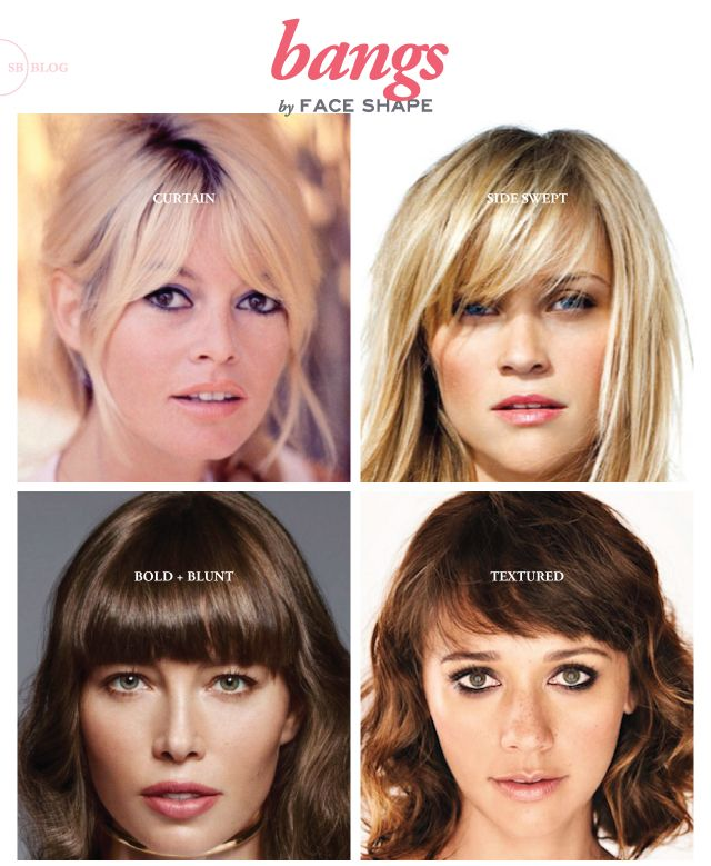 Bangs for each face shape. This hair and make-up blogger has a ton of other great tips, too!