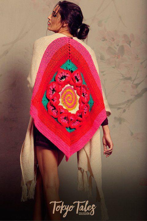 Poncho Geisha - FLORENCIA LLOMPART #poncho #knit #aw16 #tejidos #crochet #mandala #flower